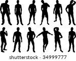 Set Of 12 Sexy Men Silhouettes...