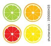 vector set of lemon  orange ... | Shutterstock .eps vector #350000435