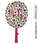 decorative hand drawn pink and... | Shutterstock .eps vector #35001130