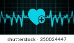 blue background with heart rate ... | Shutterstock . vector #350024447
