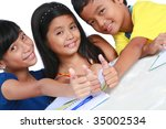 young asian students - stock photo