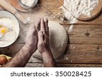 male baker prepares bread. male ... | Shutterstock . vector #350028425