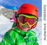 portrait of cute happy skier... | Shutterstock . vector #350033531