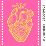 the human heart with a... | Shutterstock .eps vector #350049929