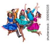 cabaret dancer team jumping.... | Shutterstock . vector #350050235