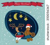 merry christmas card with cute... | Shutterstock .eps vector #350056367