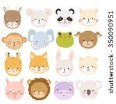 set of sixteen cute cartoon... | Shutterstock .eps vector #350090951
