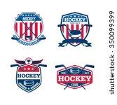 hockey logo set sport identity... | Shutterstock .eps vector #350099399