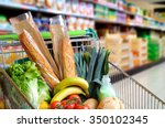 shopping cart full of food in... | Shutterstock . vector #350102345
