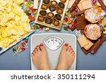 diet concept. feet of a young... | Shutterstock . vector #350111294