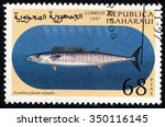 Small photo of REPUBLICA SAHARAUI - CIRCA 1999: A stamp printed in Republica Saharaui shows Acanthocybium Solandri, circa 1999