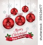 christmas decoration with red... | Shutterstock .eps vector #350126477