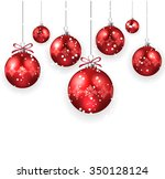 christmas decoration with red... | Shutterstock .eps vector #350128124