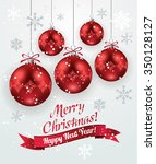 christmas decoration with red...   Shutterstock .eps vector #350128127