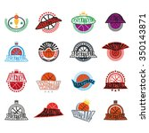 basketball text badges.... | Shutterstock .eps vector #350143871