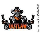 cowboy skull with revolver | Shutterstock .eps vector #350146061