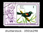 Small photo of CUBA - CIRCA 1986: A stamp printed by Cuba shows the Bird Agelaius assimilis, stamp is from the series of the 90th anniversary of death of Juan C. Gundalch circa 1986.