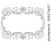 vintage baroque frame scroll... | Shutterstock .eps vector #350172617