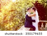 summer wedding photo of bride... | Shutterstock . vector #350179655