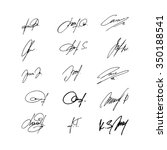 collection of vector signatures ...   Shutterstock .eps vector #350188541