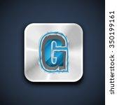 embossed metal font  vector | Shutterstock .eps vector #350199161