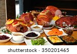 roasted turkey and ham for... | Shutterstock . vector #350201465