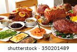 roasted turkey and ham for... | Shutterstock . vector #350201489