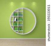 3d rendered bookshelves with... | Shutterstock . vector #350223011
