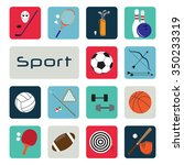 set of sport icons in flat... | Shutterstock . vector #350233319
