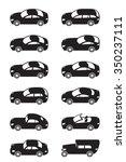 modern cars from above   vector ... | Shutterstock .eps vector #350237111