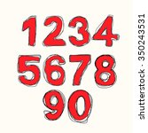 modern numbers drawn font... | Shutterstock . vector #350243531