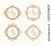 set of elegant floral monogram... | Shutterstock .eps vector #350259809
