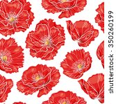 red poppy   vector seamless... | Shutterstock .eps vector #350260199