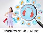elegant brunette with shopping... | Shutterstock . vector #350261309
