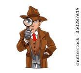 detective looking through... | Shutterstock .eps vector #350287619