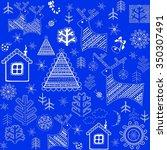 blue winter retro wrapper | Shutterstock . vector #350307491