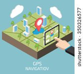 gps isometric with hand and... | Shutterstock . vector #350326577