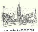 london city scene hand drawn... | Shutterstock .eps vector #350329634