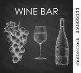 vector wine set   grape twig ... | Shutterstock .eps vector #350333111