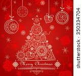 vintage red christmas card with ... | Shutterstock .eps vector #350334704