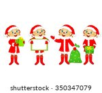 monkey with gifts  symbol of... | Shutterstock .eps vector #350347079