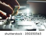technician plug in cpu... | Shutterstock . vector #350350565