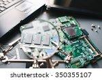 desktop with broken... | Shutterstock . vector #350355107