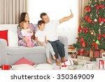christmas family portrait in... | Shutterstock . vector #350369009
