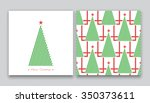 christmas tree in line art and... | Shutterstock .eps vector #350373611