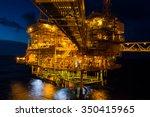 offshore the night industry oil ... | Shutterstock . vector #350415965