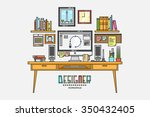 work place of a designer with... | Shutterstock .eps vector #350432405