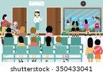 busy hospital corridor... | Shutterstock .eps vector #350433041