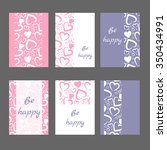 set of 6 cards with abstract... | Shutterstock .eps vector #350434991
