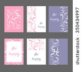 set of 6 cards with abstract... | Shutterstock .eps vector #350434997
